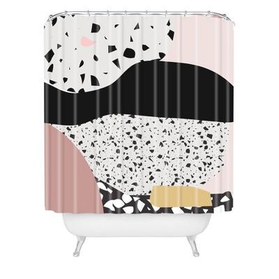 Mambo Art Studio Terrazzo Shower Curtain Pink/Blank - Deny Designs