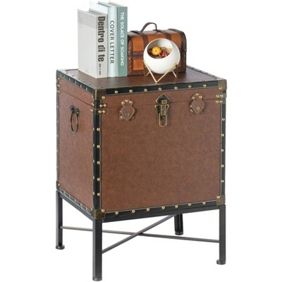 Vintiquewise Brown and Black Trimmed Faux Leather Lockable Square Lined Storage Trunk, End Table on Metal Stand