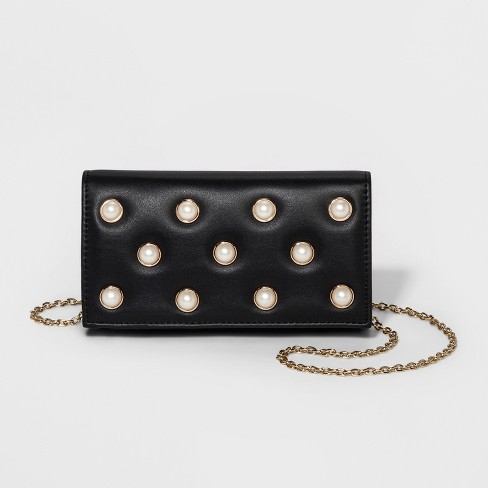 Women's Estee & Lilly Pearl Clutch - Black - image 1 of 3