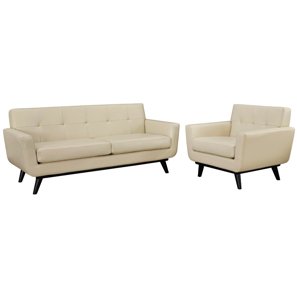 Engage 2pc Leather Living Room Set Beige - Modway