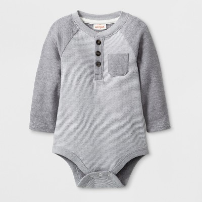 Baby Boys' Long Sleeve Bodysuit with Chest Pocket - Cat & Jack™ Gray Newborn