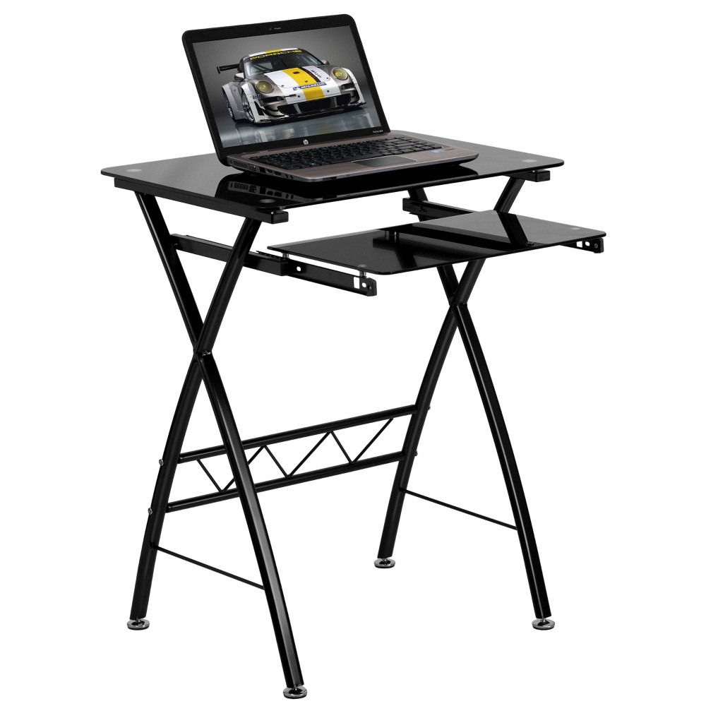 Image of Black Tempered Glass Computer Desk with Pull - Out Keyboard Tray - Black Glass Top/Black Frame - Riverstone Furniture Collection