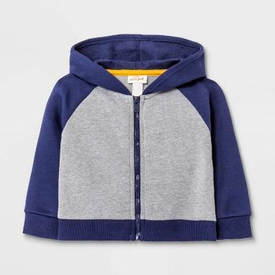 Baby Fleece Raglan Hoodie Jacket - Cat & Jack™ Gray/Blue