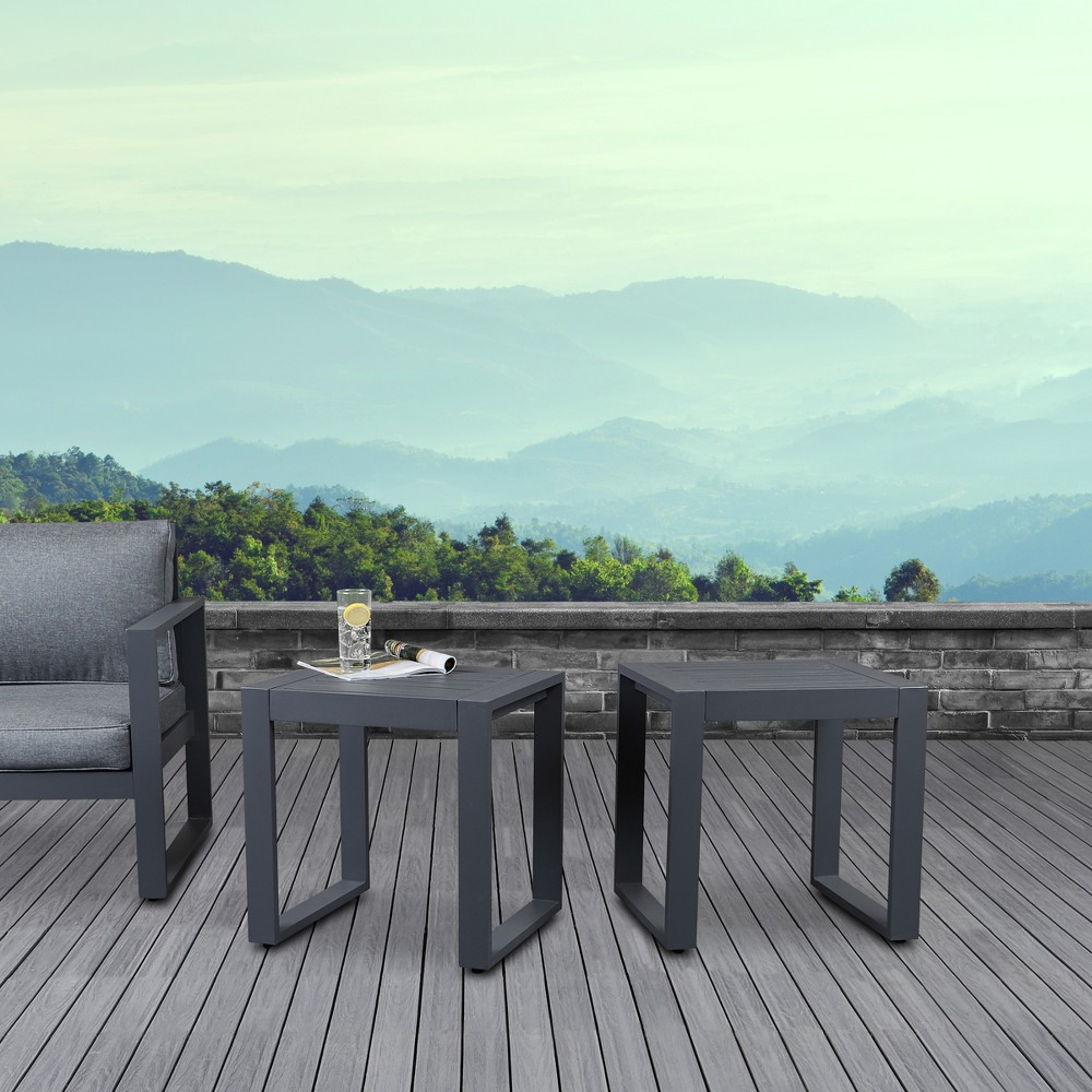 Image of Baltic Set of 2 End Tables Gray - Real Flame