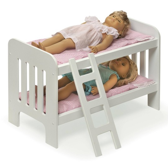 Badger Basket Doll Bunk Bed with Bedding, Ladder, and Free Personalization Kit - White/Pink/Gingham image number null