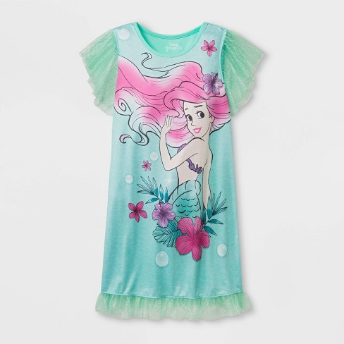 Girls' The Little Mermaid Nightgown - Green - image 1 of 1