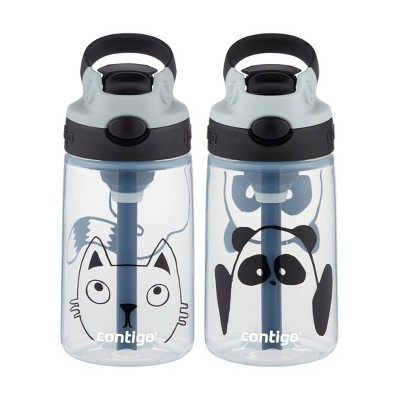 Contigo 14oz Kids Water Bottle with Redesigned AutoSpout Straw Panda and Cat - 2pk