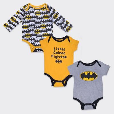 Boys' DC Comics Batman® Little Crime Fighter 3pk Bodysuit Set - Gray/Black/Yellow 3-6M