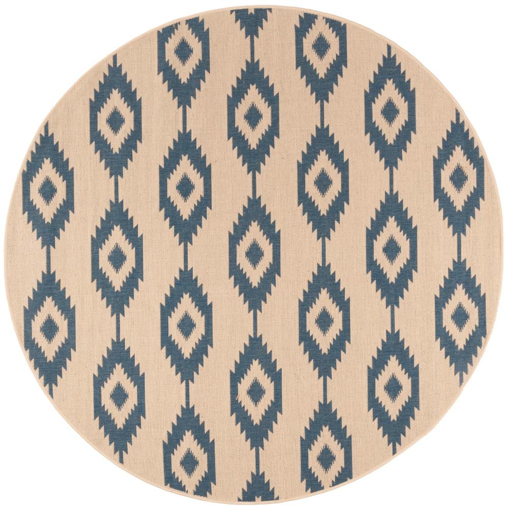 67 Geometric Loomed Round Area Rug Blue/Cream - Safavieh Reviews