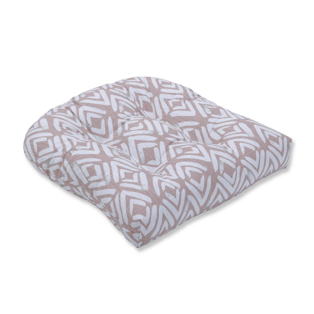 Image of Fearless Blush Wicker Seat Cushion - Pillow Perfect, Pink Gray Beige
