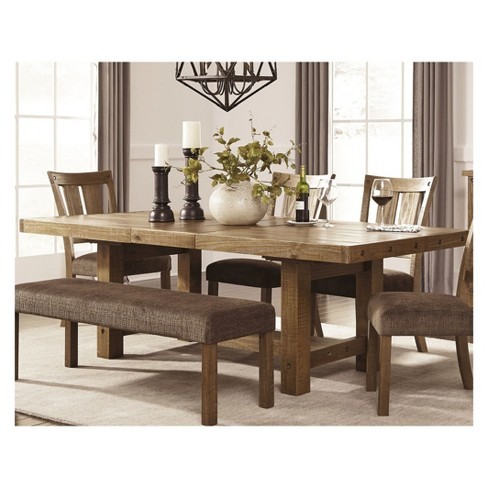 Tamilo Rectangular Dining Room Extendable Table Wood Gray Brown Signature Design By Ashley