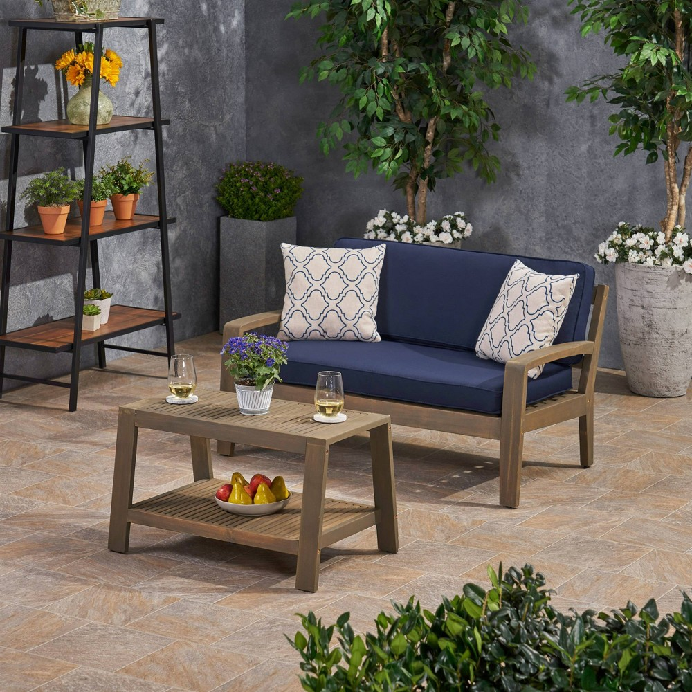 Image of 2pc Grenada Acacia Wood Patio Chat Set with Sunbrella Cushions Gray/Navy - Christopher Knight Home, Gray/Blue