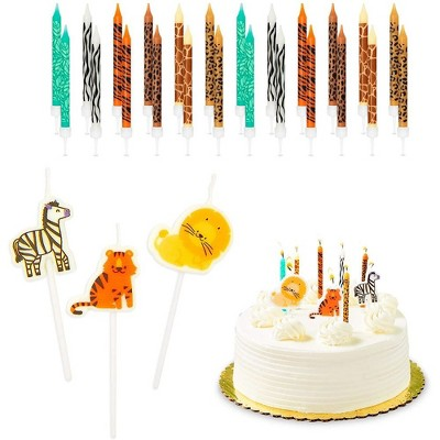 Blue Panda 51-Piece Safari Animals Cake Topper & Thin Birthday Cake Candles 3-Inch with Holders