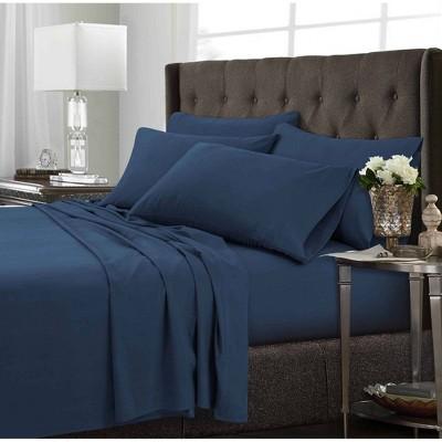 King 6pc Microfiber Extra Deep Pocket Solid Sheet Set Estate Blue - Tribeca Living
