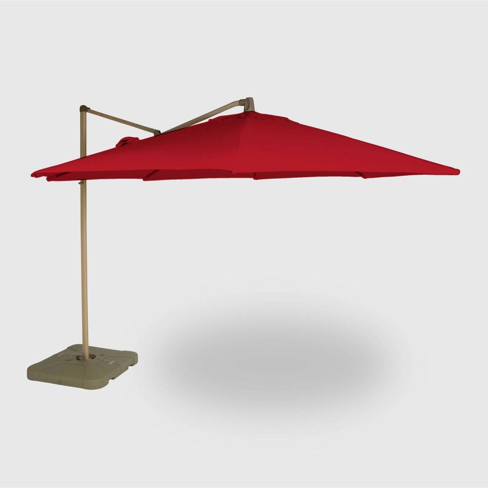 Image of 11' Offset Patio Umbrella Red - Light Wood Pole - Threshold