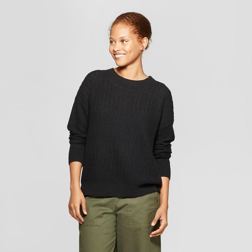 Women's Long Sleeve Tunic Pullover Sweater - Prologue Black Xxl