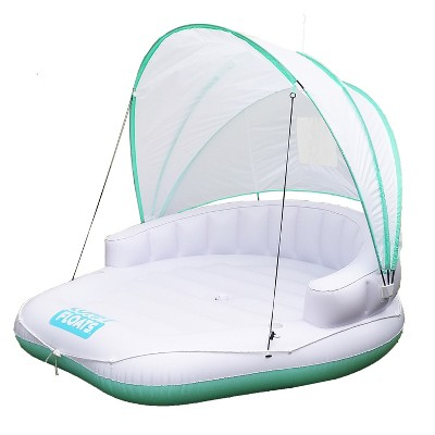 Magic Time International 91481VM Comfy Floats Inflatable Adjustable Shaded Cabana Cool Misting Single Person Pool Float, White