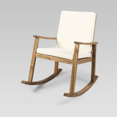 Candel Acacia Wood Rocking Patio Chair Teak / Cream - Christopher Knight Home
