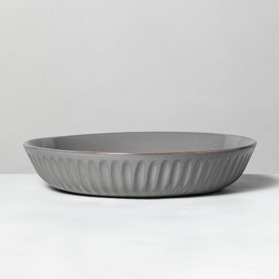 Shallow Fluted Stoneware Serve Bowl Gray - Hearth & Hand™ with Magnolia