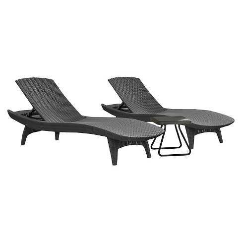 Pacific Seating Sun Lounger With Table Set 3pc Gray Keter Target