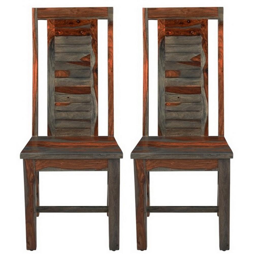 Set Of 2 Capri Scooped Seat Dining Chair Brown/Gray - Treasure Trove