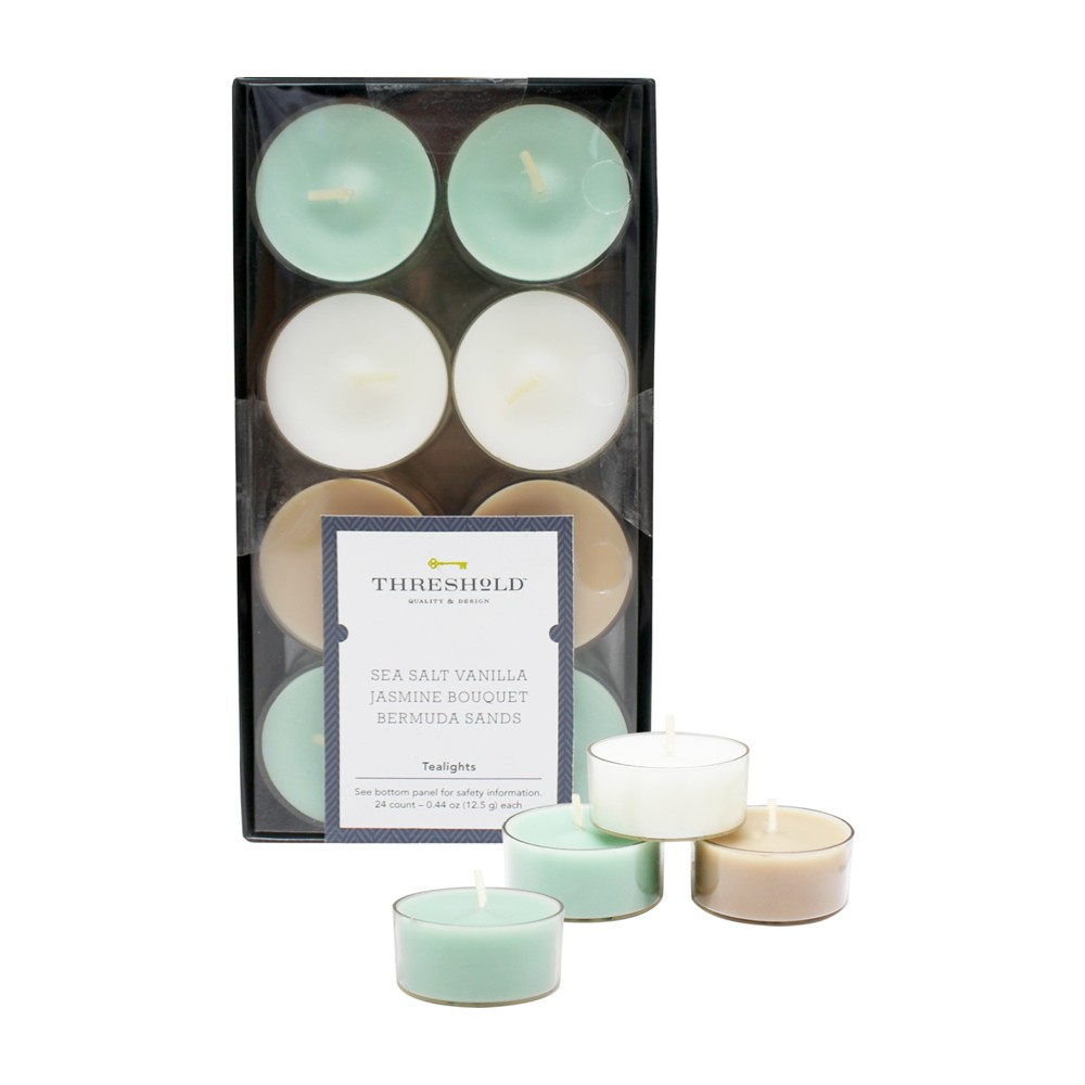 Image of .31 24pk Tealight Candle Set Sea Salt Vanilla/Jasmine Bouquet/Bermuda Sands - Threshold, Blue