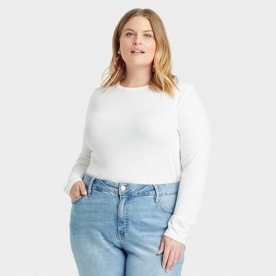 Women's Plus Size Long Sleeve Crewneck T-Shirt - Ava & Viv™