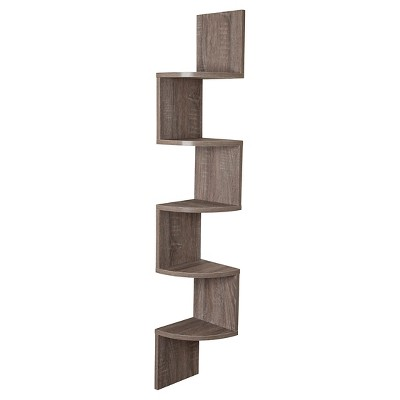 "48.5"" x 7.7"" Zig Zag Corner Shelf Weathered Oak - Danya B."
