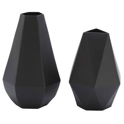 Set of 2 Metal Geometric Vases Black - Olivia & May
