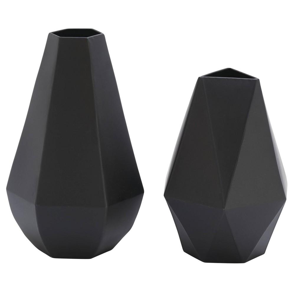 Set Of 2 Metal Geometric Vases Black Olivia 38 May