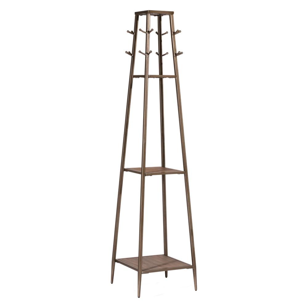 Image of Crofton Coat Rack Metal Silver/Black Rub Distressed Gray Finished Wood - Hillsdale Furniture
