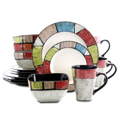 16pc Stoneware Stained Glass Dinnerware Set - Elama