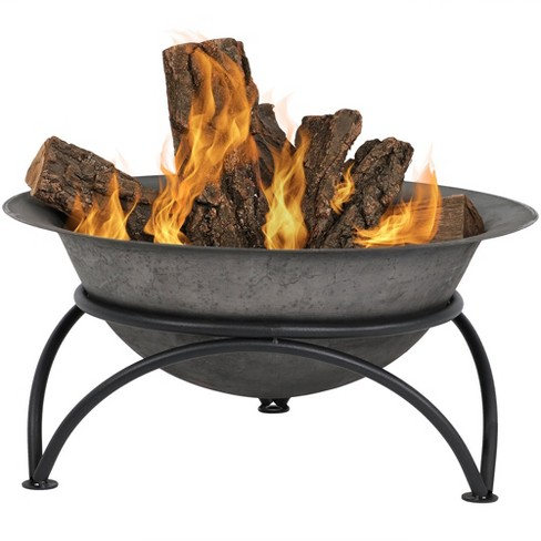 """Sunnydaze Outdoor Camping or Backyard Round Cast Iron Rustic Fire Pit Bowl on Stand - 24 - Dark Gray"""" - image 1 of 4"""