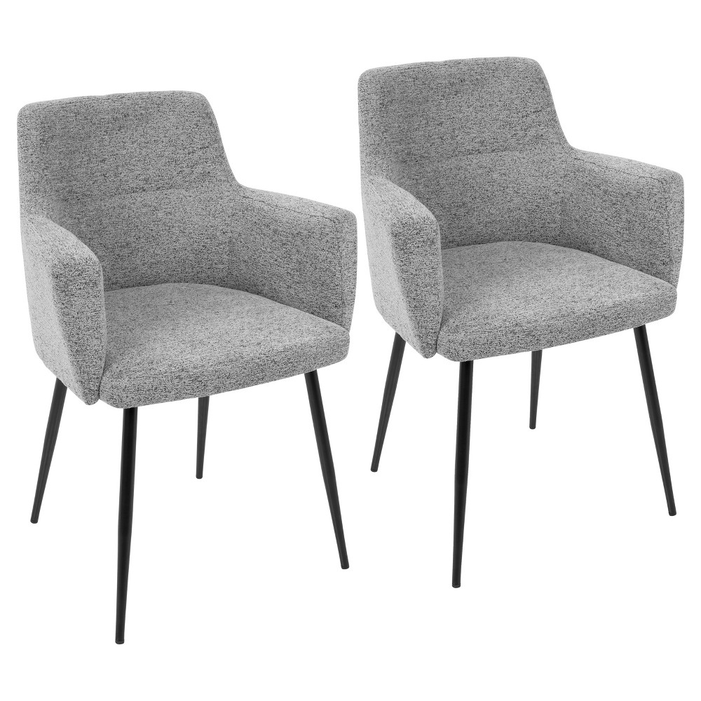 Andrew Contemporary Dining, Accent Chair - Gray (Set of 2) Lumisource, Black