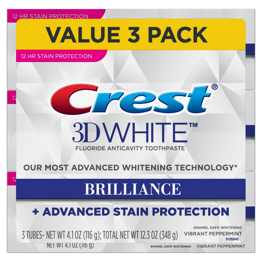 Image of Crest 3D White Brilliance + Advanced Stain Protection Premium Vibrant Peppermint Toothpaste - 3ct - 12.3oz