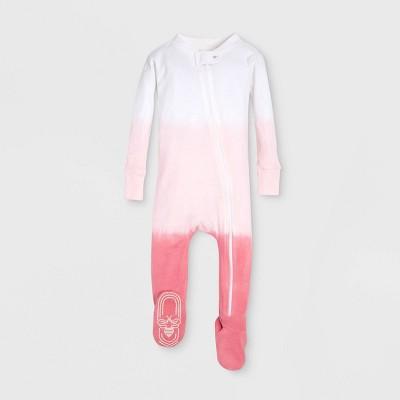 Burt's Bees Baby® Baby Girls' Organic Cotton Dip Dye Footed Sleeper - Red/White 0-3M