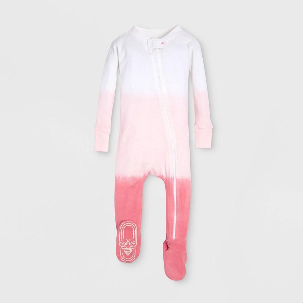 Burt's Bees Baby Baby Girls' Organic Cotton Dip Dye Footed Sleeper - Red/White 6-9M, Pink
