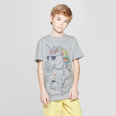 view Boys' Unicorn Short Sleeve Graphic T-Shirt - Cat & Jack Gray on target.com. Opens in a new tab.