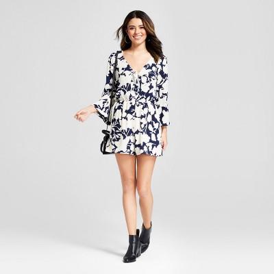 24e88d43967 Womens Floral Print Tie-front Long Sleeve Romper – Xhilaration™ Navy ...