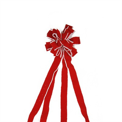 """Northlight 48"""" Red and White Fringe 16 Loop Commercial Christmas Bow Decoration"""