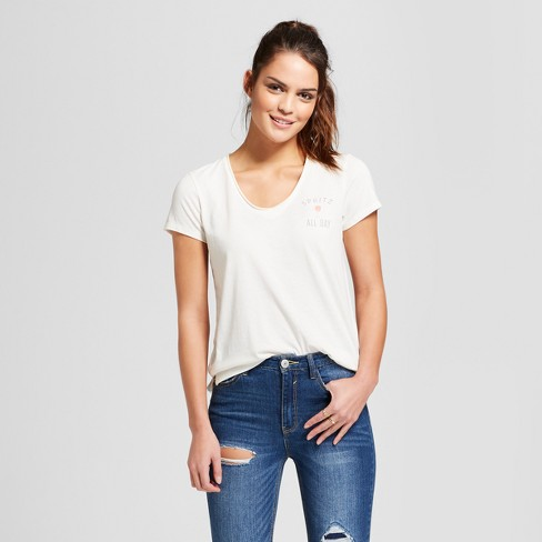 e4358331cddc Women's Spritz All Day Raw Edge Short Sleeve V-Neck T-Shirt - Grayson  Threads (Juniors') - White : Target