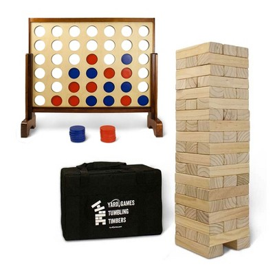 YardGames Giant Tumbling Timbers Natural Pine Blocks Wood Stacking Game Bundle with Outdoor 4 in a Row Lawn Game with Storage Carrying Case