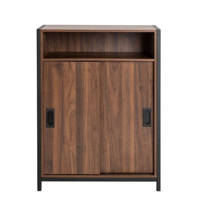 "32"" Wooden Metal Floor Cabinet with Double Sliding Doors Natural - Glitzhome"