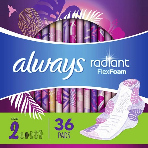 Always Radiant Heavy Flow Flex Foam Pads - Scented - Size 2 - 36ct - image 1 of 4