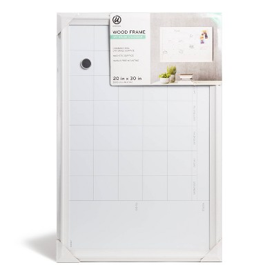 "U Brands 20""x30"" Dry Erase Magnetic Calendar Board White Frame"