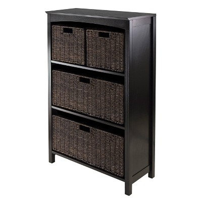 5pc Terrace Storage Set with 4 Tier Shelf and Baskets Espresso Brown - Winsome