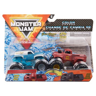 Monster Jam Official Grave Digger vs. Grave Digger (1982 Retro) Color-Changing Die-Cast Monster Trucks - 1:64 Scale