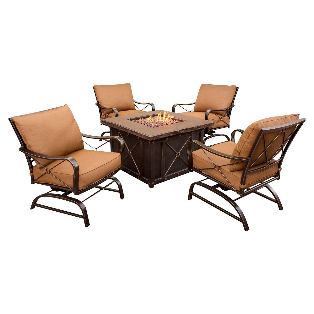 Stone Harbor 5pc Metal Patio Conversation Set w/ Fire Pit Table - Tan - Hanover