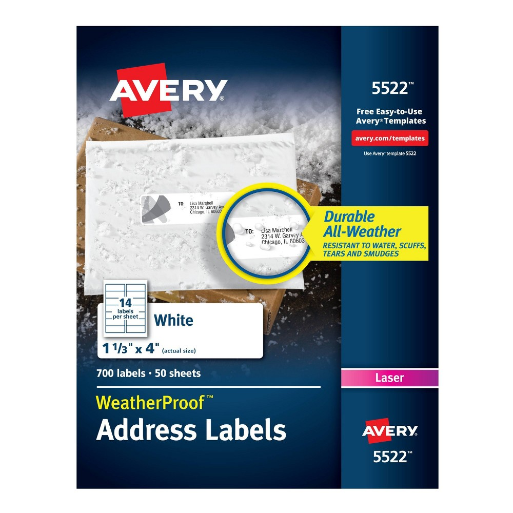 Image of Avery 1-1/3 x 4 Weatherproof Laser Shipping Labels - White (700 Per Pack)