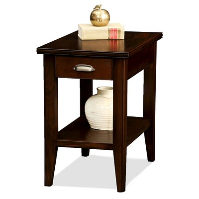 Laurent Drawer Chairside Table Chocolate Cherry Finish   Leick Furniture